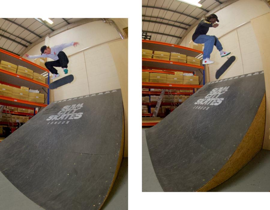 Left: Dom Henry - FS Half Cab Flip. Right Calvin Tre Flip