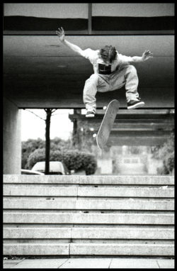 Mark Baines, switch frontside kickflip, The Beige, Milton Keynes, 1996. photo: Leo Sharp