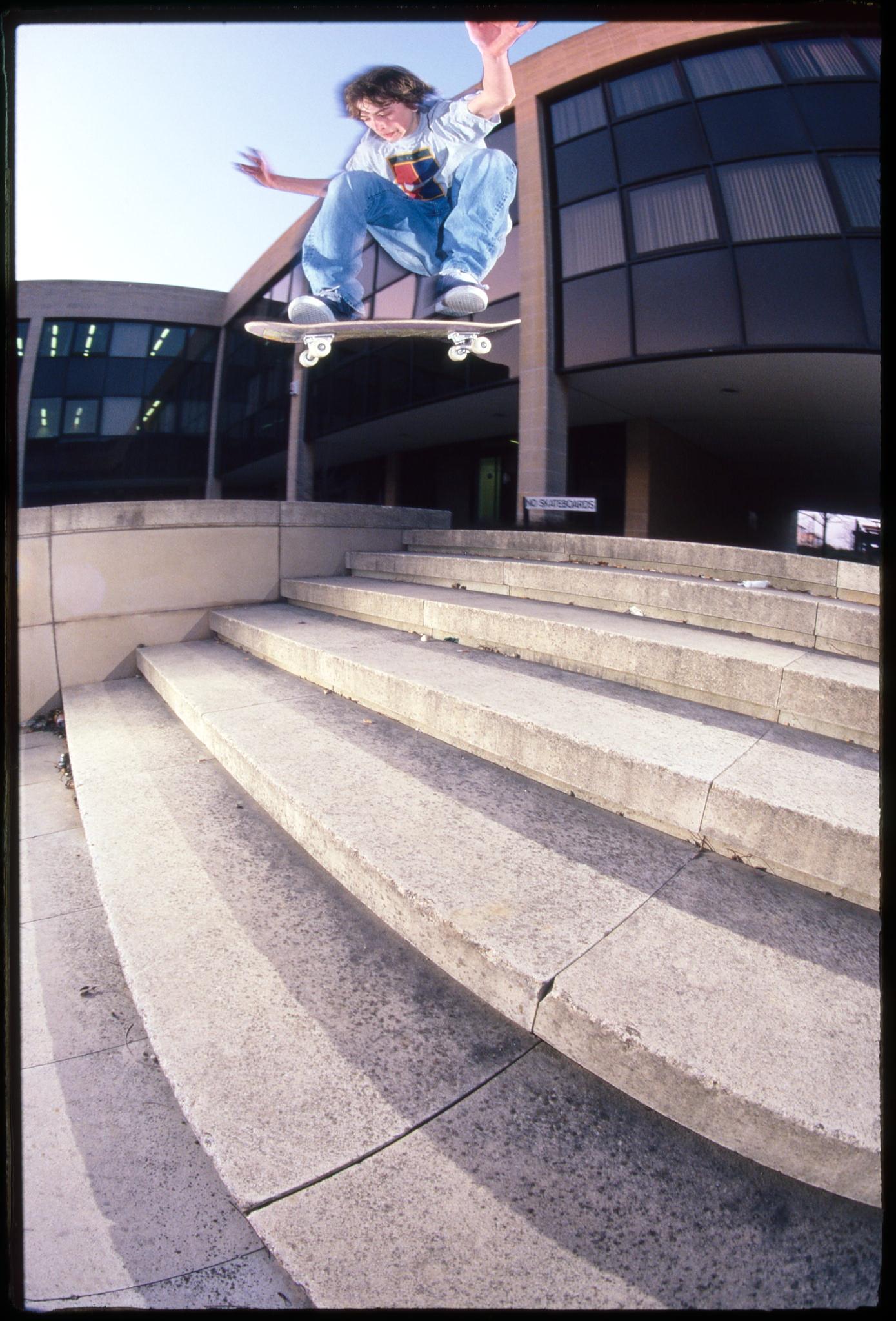 Mark Baines, switch frontside kickflip, The Beige, Milton Keynes, 1996. photo: Wig Worland