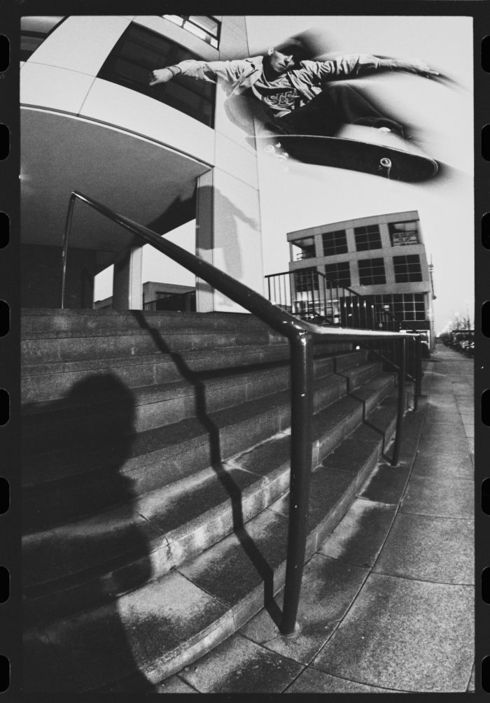Mike Manzoori, ollie, The Brown Bar, Milton Keynes, 1994. photo: Wig Worland