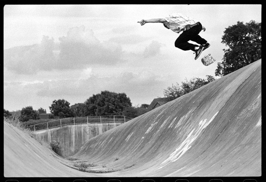 Rick Howard, backside kickflip, Caldecotte Ditch, 2004. photo: Leo Sharp