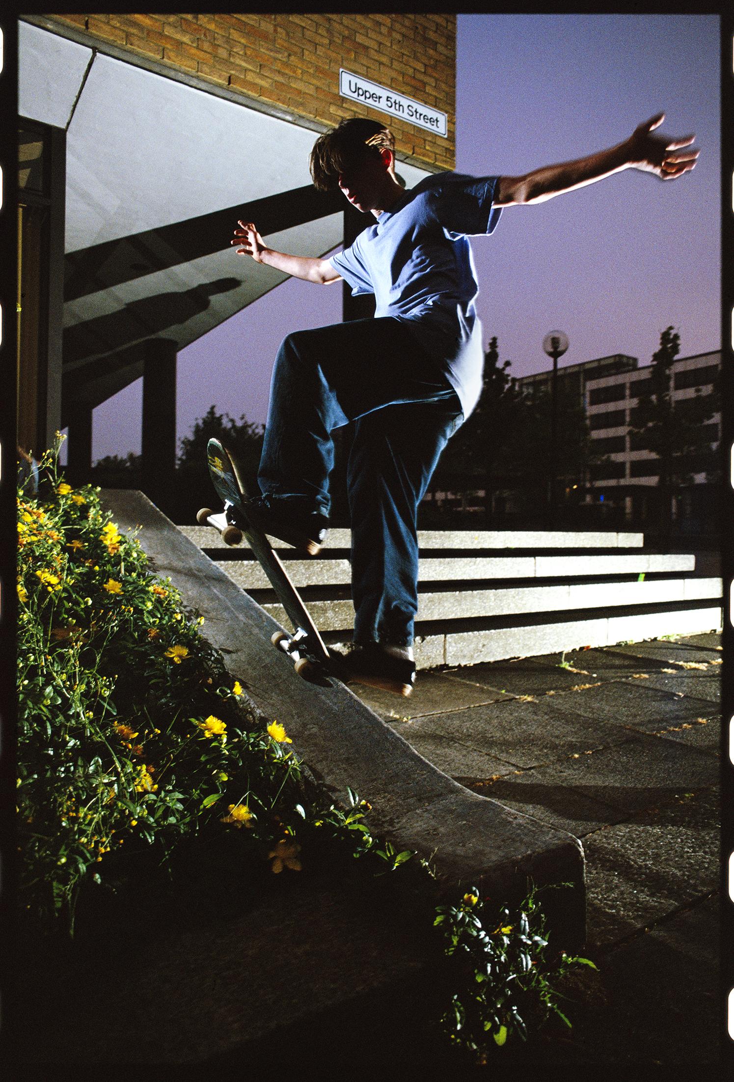 Tom Penny, frontside bluntslide, Upper 5th Street, Milton Keynes, 1993. photo: Wig Worland