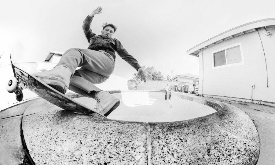 Andrew Allen, frontside rock slide, Oxnard, California, 2016. photo: Andrew James Peters