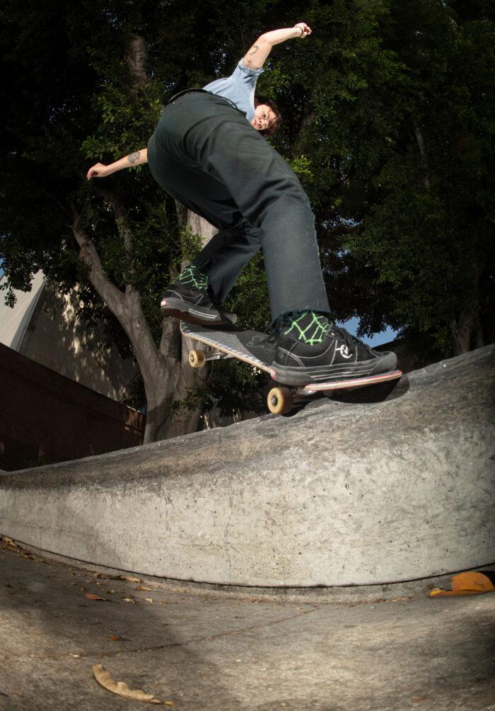 Breana Geering, frontside nosegrind for her Girl Skateboards debut ad shot by Mike Blabac