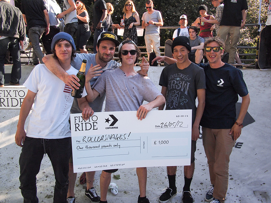 Darren Pearcy with the Rollersnakes Team at Converse Fix To Ride, London. Photo: Chris Johnson