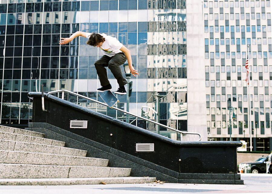 Jake Johnson, kickflip backside lip slide, Black Hubba, New York, 2008 | photo: Jonathan Mehring