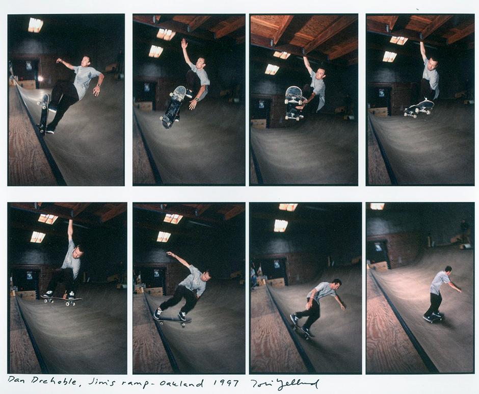 Dan Drehobl dangles at Jim's Ramp in Oakland. Photo: Tobin Yelland