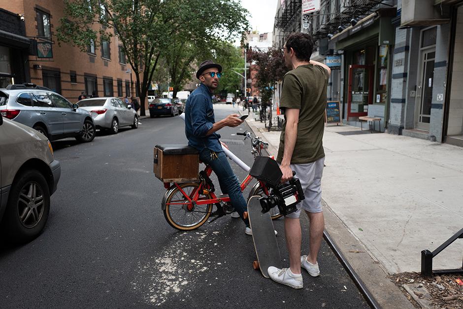 Jeremy Elkin on the streets with JR. Photo: Khyber Jones