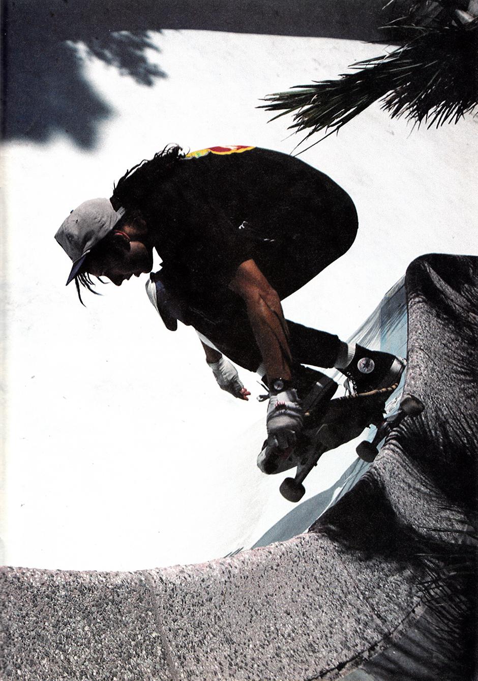 Tony Alva in the ghost bowl in 1988. Photo: Steve Kane