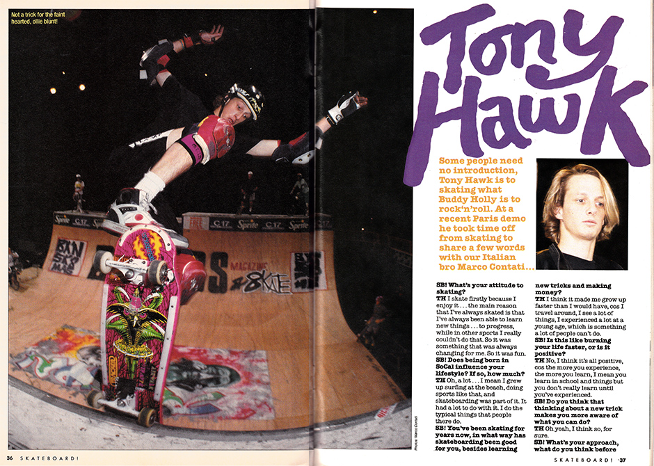 setting the bar high with a Tony Hawk interview in 1989. Photos: Marco Contati. Inset below right - Natas reading issue one in Skane's flat