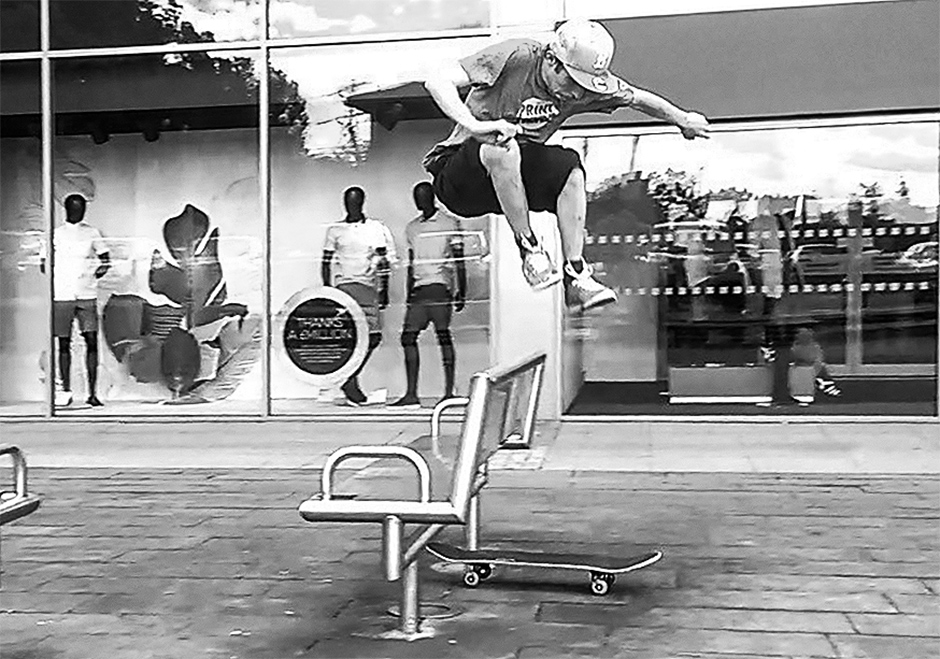 Matt hippy jumping high street furniture in the Lost & Found Era. Photo: Richard Swift