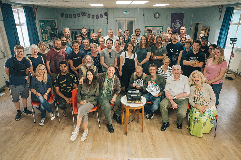 Adam and the rest of the cast and crew on the set of The Detectorists. Photo: Chris Harris