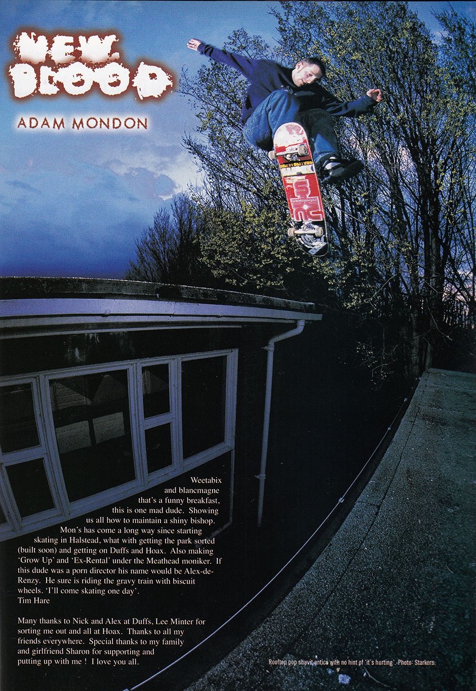 Adam on the other side of the lens. Roof gap pop shuvit back in the hoax days. Photo: Andrew Stark