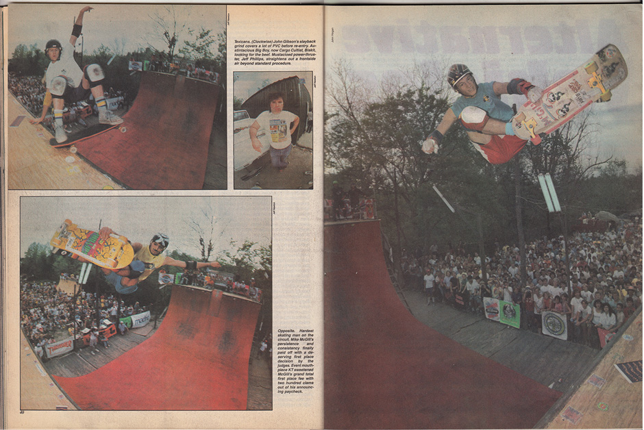 John Gibson, Jeff Phillips and Mike McGill skating the Houston contest from Thrasher, June 1986