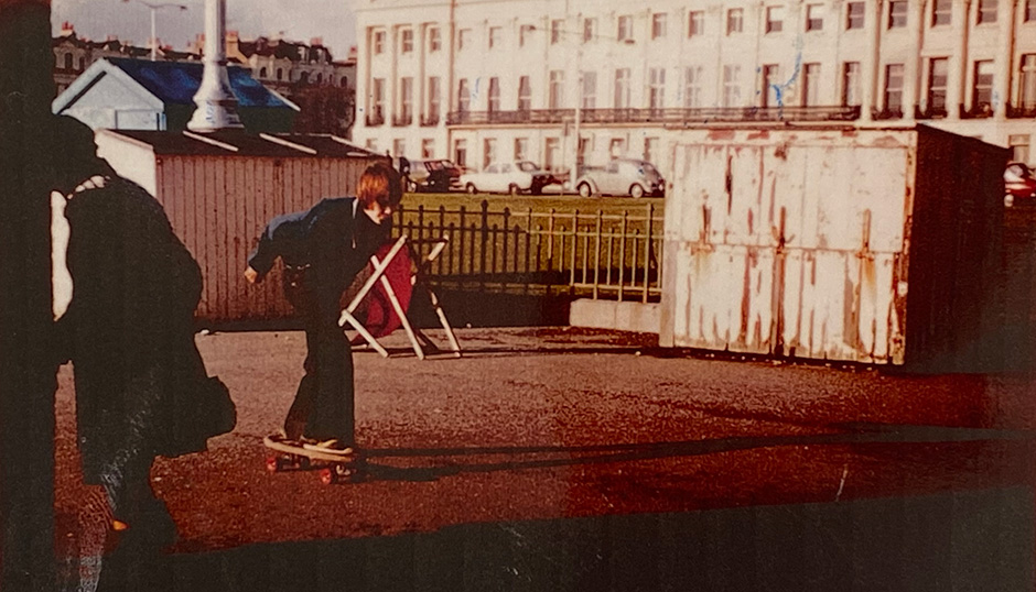 Surf Flyer action near another seafront. Rolling in Hove in 1978. Inset Below Left - Finger flip in Brighton. Photo: Frankie Shea