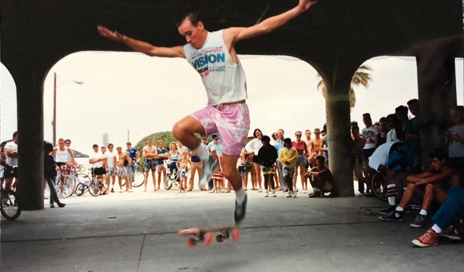 Don localising Huntington Beach Pier in 1986. A conversation here would change his life course