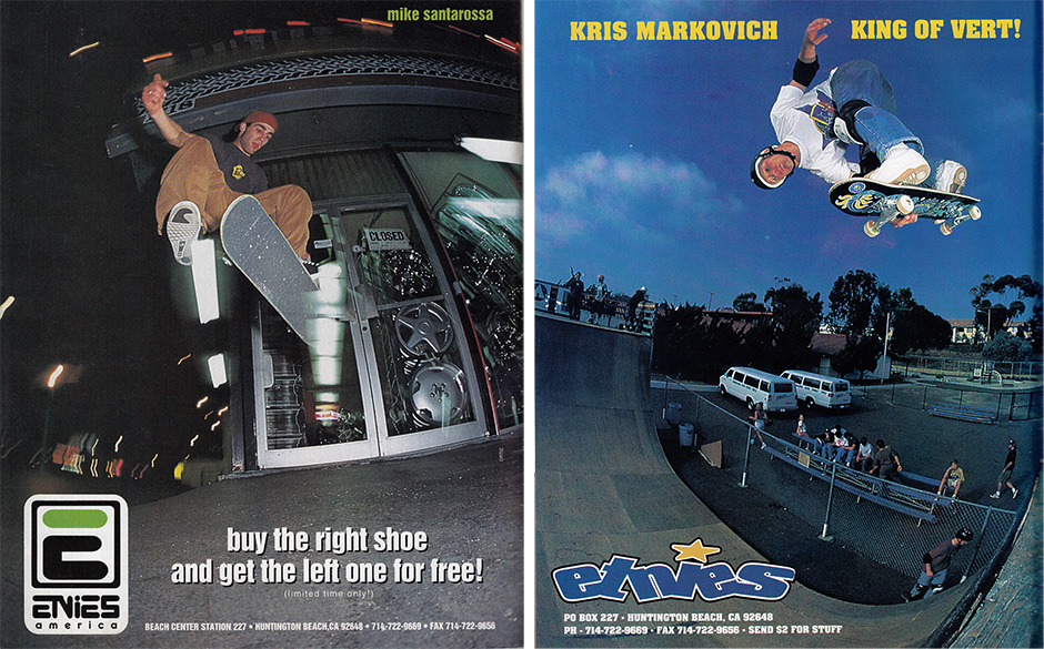 Mike Santarossa and Kris Markovich Etnies Ads which appeared in Issues 7 and 9 of Big Brother