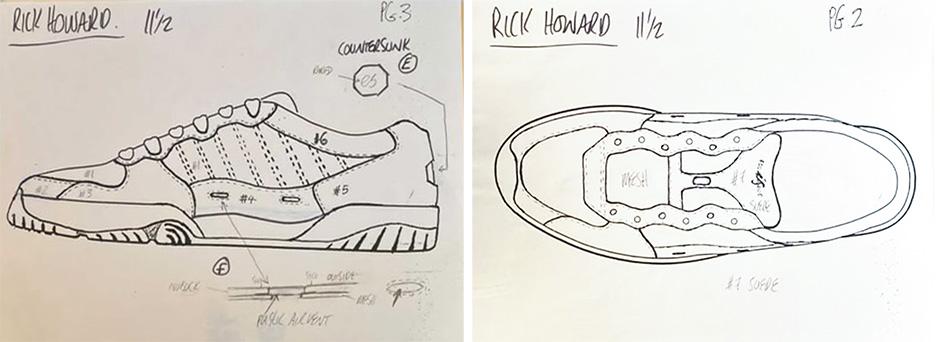 Original sketches of the Rick Howard éS shoe that never was