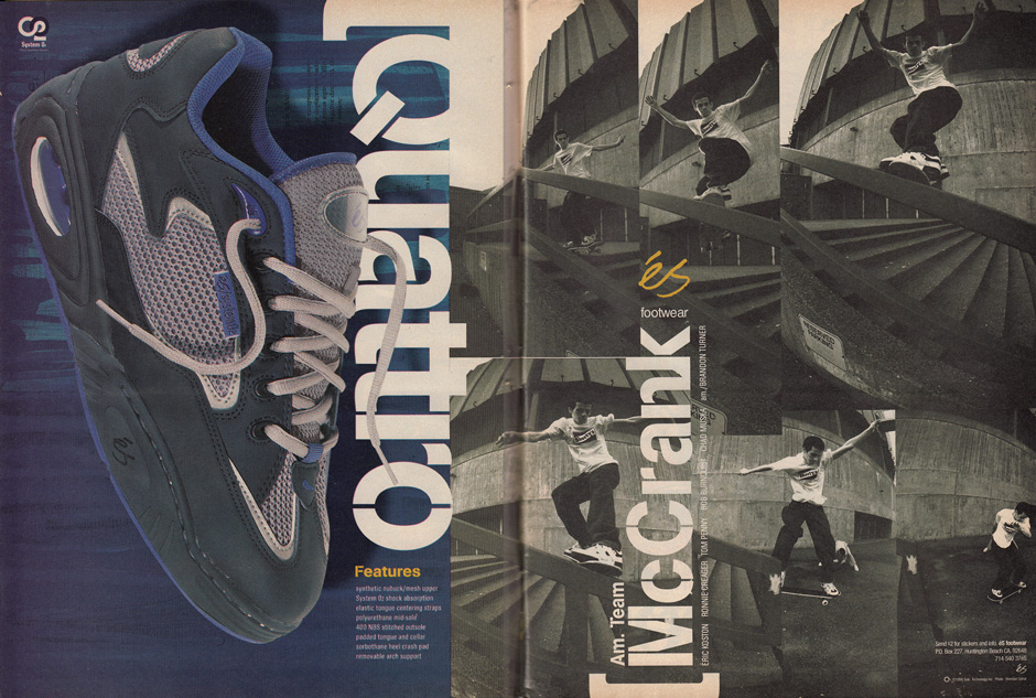 Yeezy Inspo? Futuristic silhouettes from 1998. Rick McCrank Frontside noseslides in the Koston 1 While advertising the recently re-issued Quattro