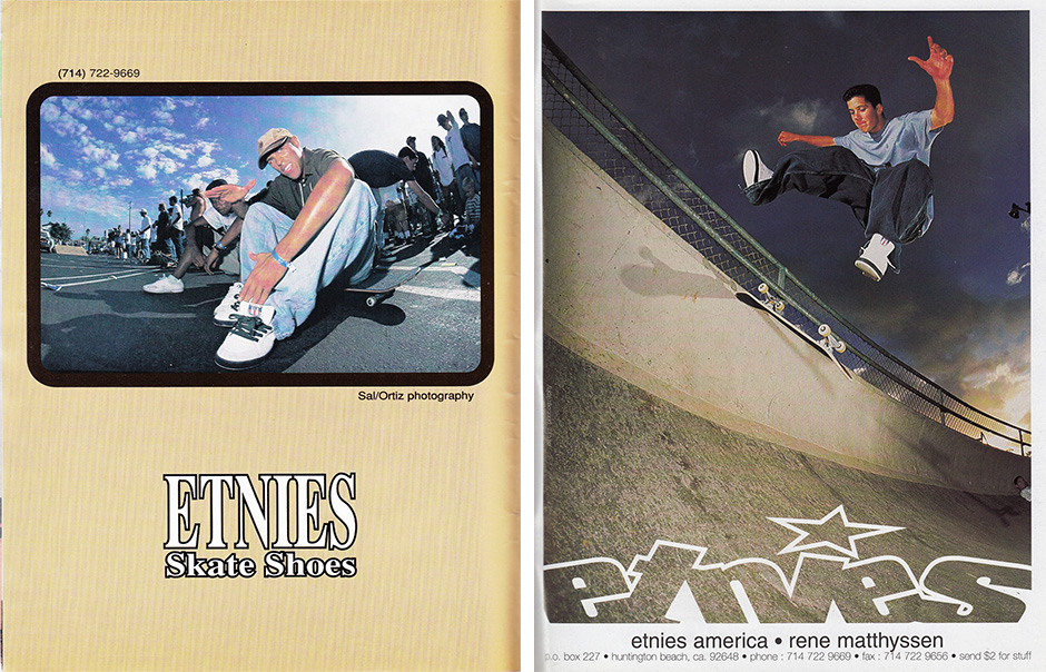 Ahead of the curve. Sal Barbier chilling in the first ad for his shoe and Rene Matthyssen's heelflip in a pair a few months later