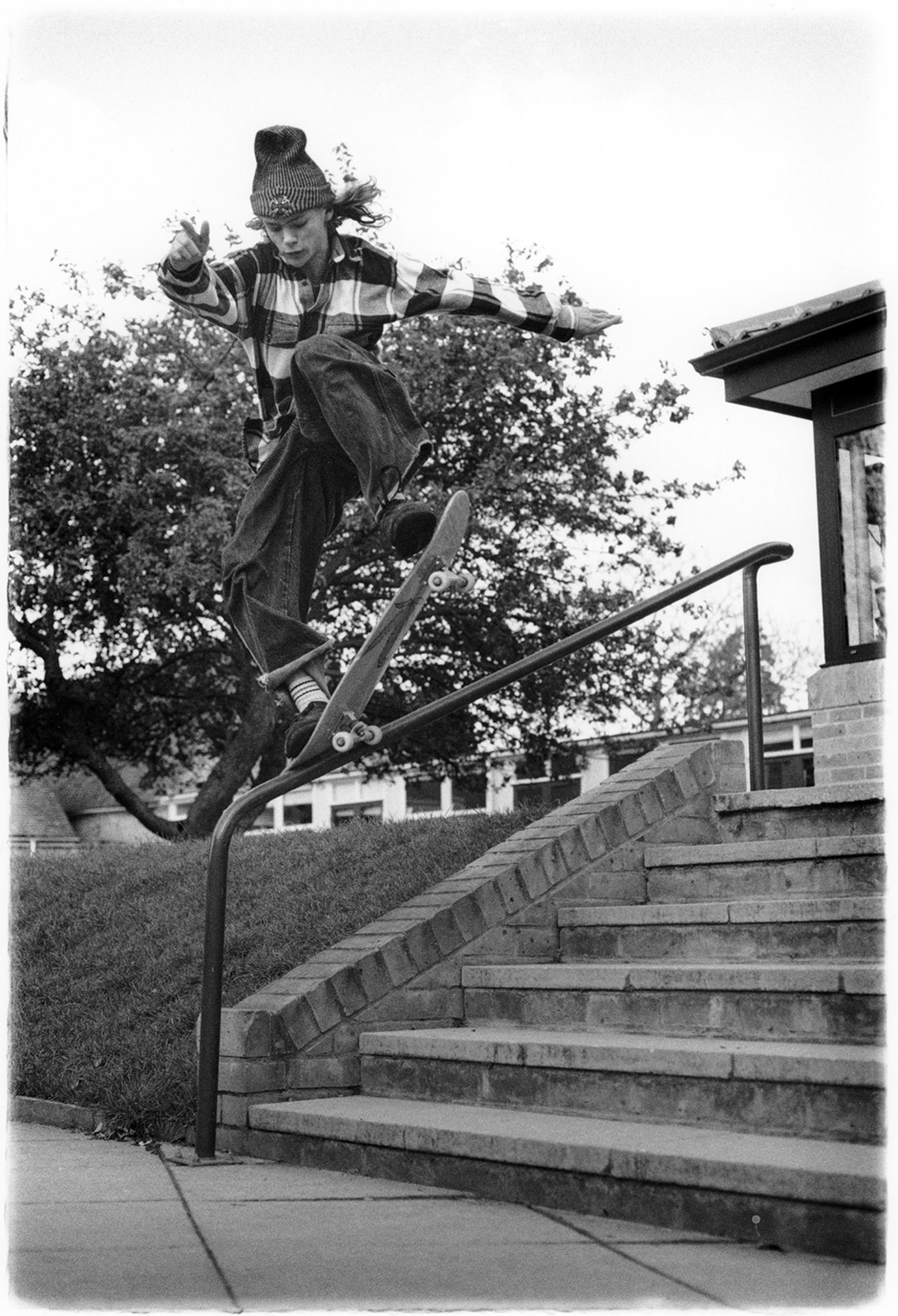 Gonz inspired picture perfect frontside noseblunt slide. In between regular jobs in 1994. Photo: Wig Worland. Inset Below Left - DJing at a Mowax party a few years later