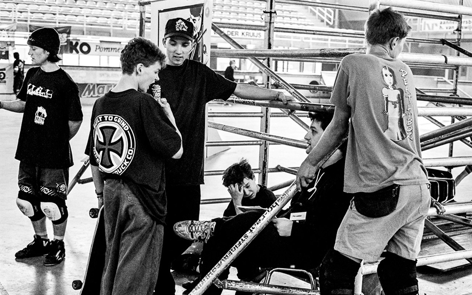 Deathbox in the Netherlands. Left to right: Rocker, Alex, Steve Jolliffe, Andy Scott, Jeremy Fox, Rune Glifberg. Photo: James Hudson