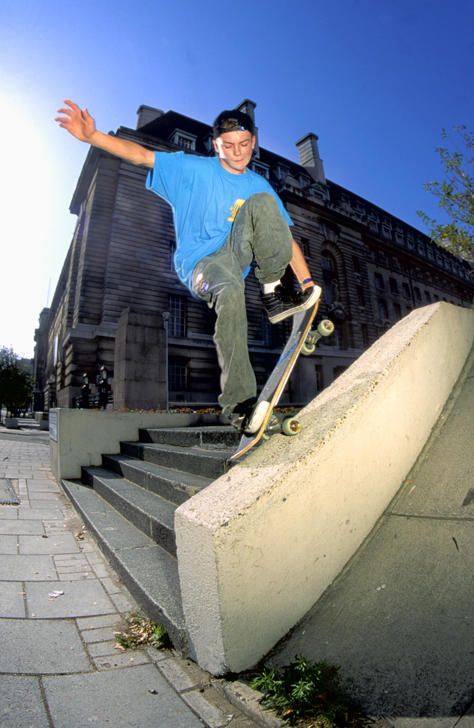 Lost London Landmarks. Nosegrind Tail Grab out of Jubilee Gardens. Photo: Tim Leighton-Boyce