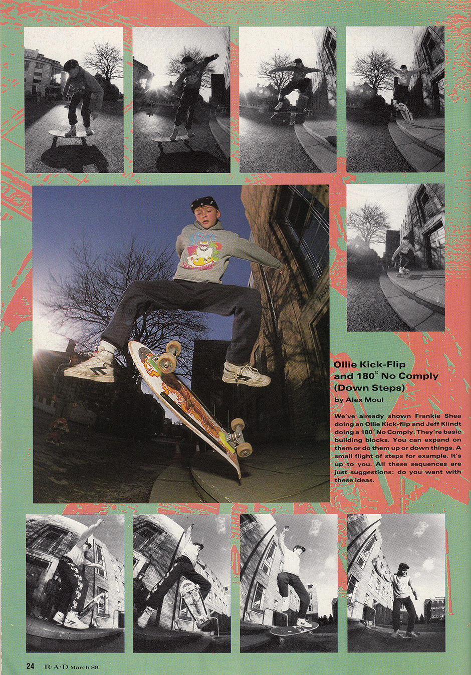 Stepping it up in the March 1989 edition of RaD Magazine. Photos: Tim Leighton-Boyce. Inset Below Left - Throw On From The Same Article