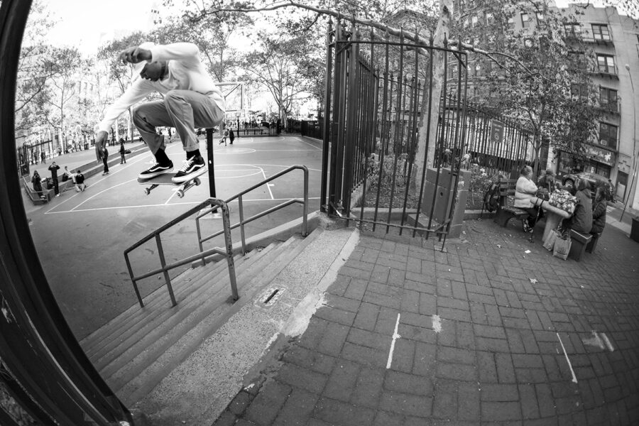 Justin Henry switch ollies over the rail at Columbus Park, New York. photo: Pep Kim