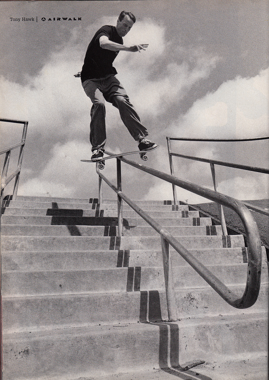 Doubling the stair count 7 years later in this Airwalk ad with classical form on a lipslide