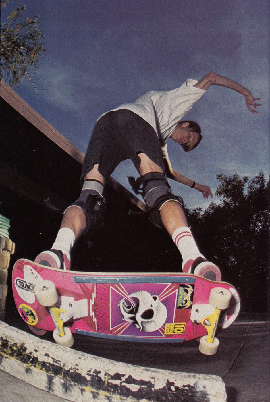 Reaffirming the fun with a lapper assisted edger on a curb in 1988. Photo: O