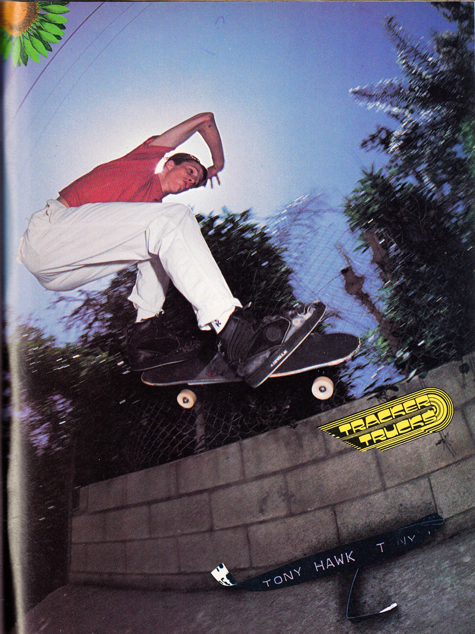 Tony taking his ollie to the streets in a Tracker Trucks advert from 1988