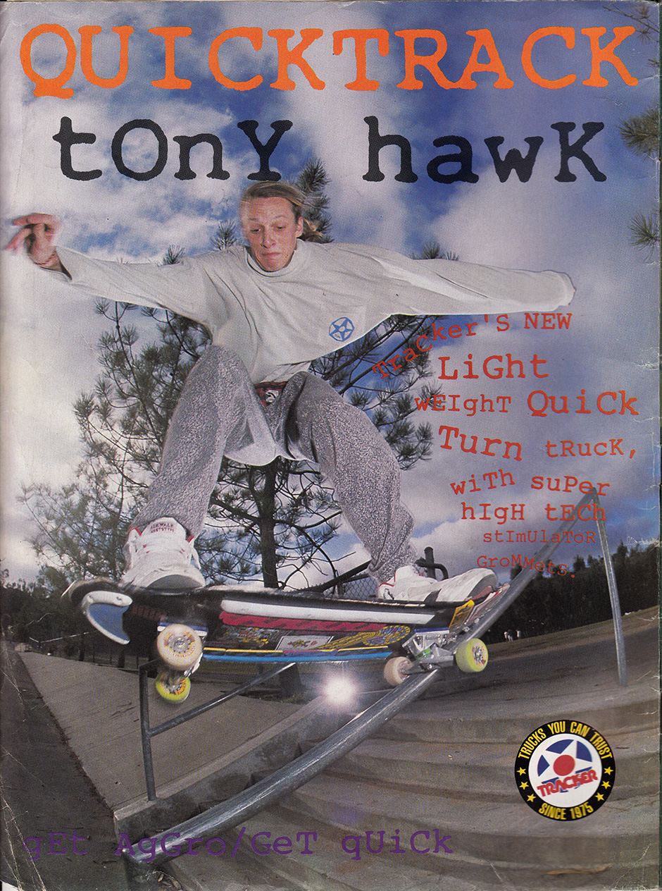 Hawk on a handrail. Five Stair 5-0 for the Quicktrack in 1990. Tracker Ripgrip, Powell Jawbone, Blue and White Gorilla Ribs plus Ray Barbee and Lance Mountain along for the ride
