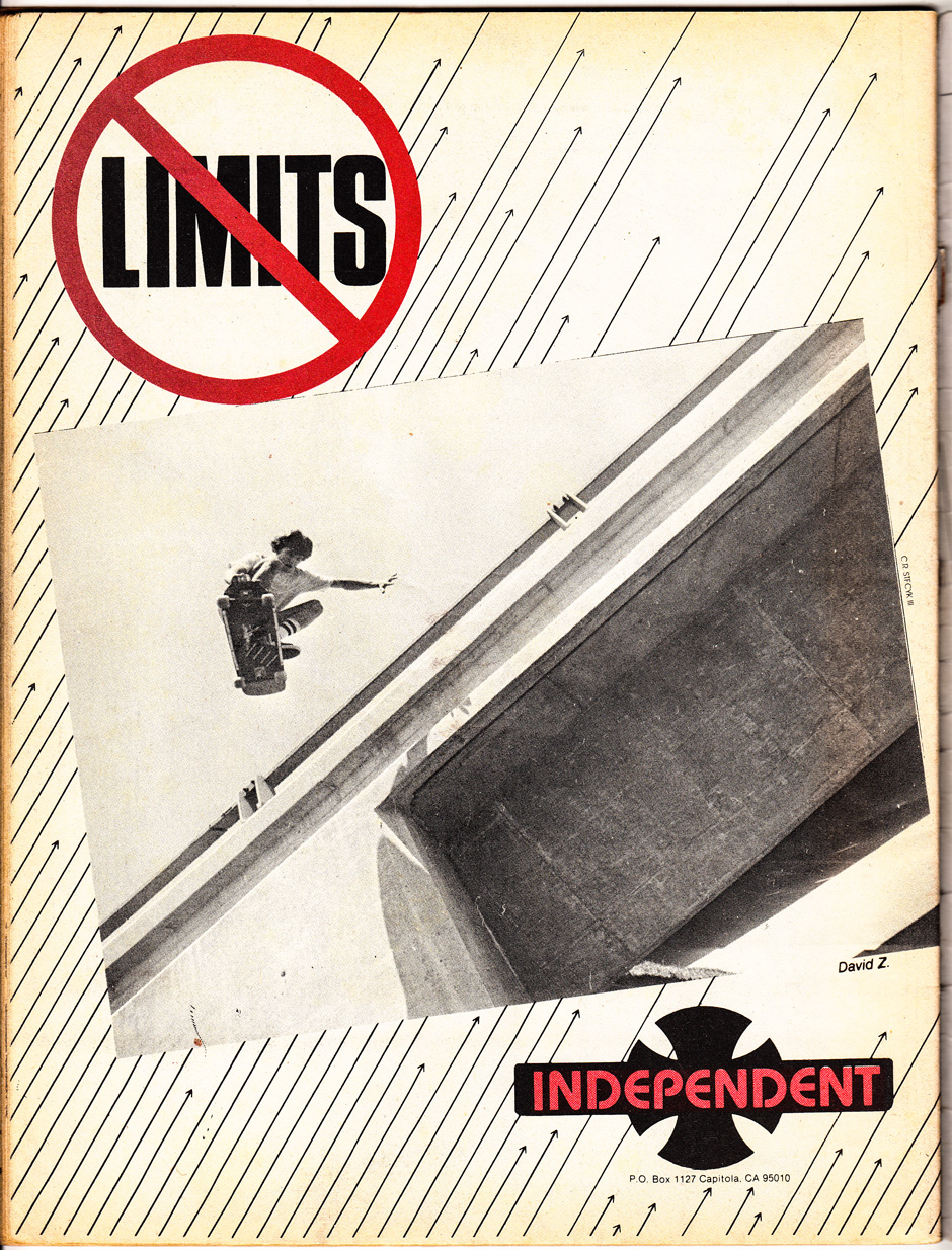 David Z pushing the envelope in an Independent Trucks advert from 1981
