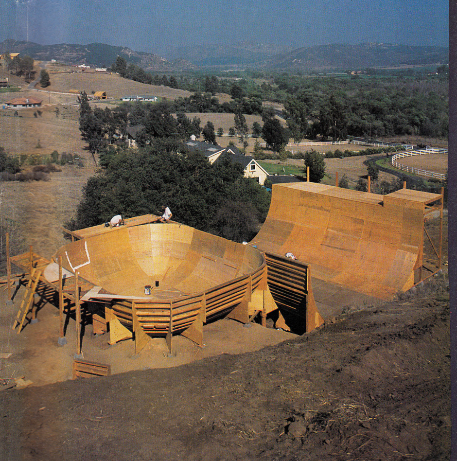 The Fallbrook Flight Centre under construction 1988. The foundation for creating the perfect vert ramp
