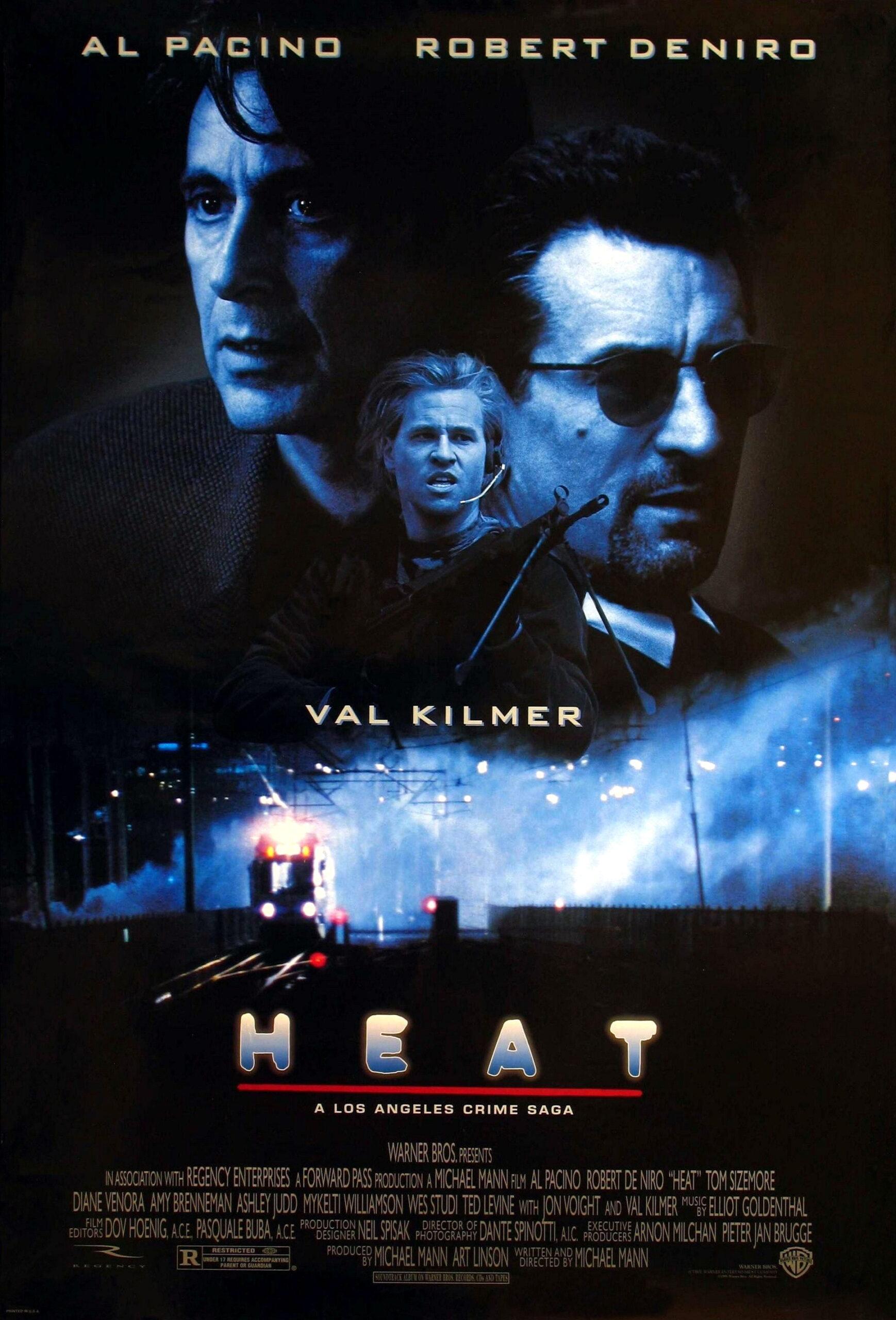 Poster for Michael Mann's 1995 crime movie, 'Heat' featuring Al Pacino, Robert De Niro and Val Kilmer | Offerings: Tom Karangelov Interview | Slam City Skates